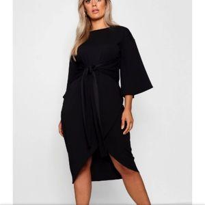 Boohoo Plus kimono sleeve Black Midi dress size 16